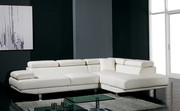Designer White Top Graded Real Leather Corner Sofa ( Model: T60C)