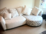 Part Pattern Cream Corner Sofa