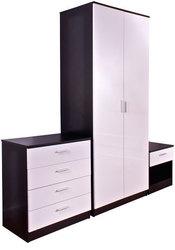 High gloss 3 piece trio bedroom wardrobe set