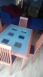 Cherry and Glass Dining Room Table and 6 chairs for sale in Earley