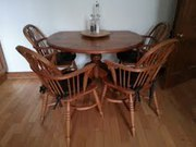 Solid Pine Dining Table with Four Solid Beech Windsor Chairs