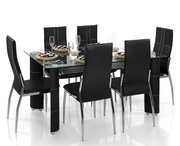 Shop Now For Oslo Dining Table - Black/Black Glass at UK Graded Stock