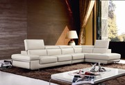 White Corner Leather Sofa