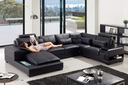 Black Corner Leather Sofa Suite