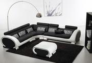 Corner Black and White Corner Sofa Suite