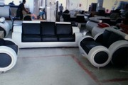 Excess Stock Recliner Black and White 3+2+1 Seater Sofa