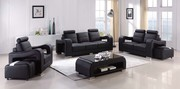 Black Leather 3+ 2Seater Sofa Suite