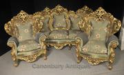Antique French Rococo Sofa Suite Gilt Arm Chairs Lounge Chair Chippend