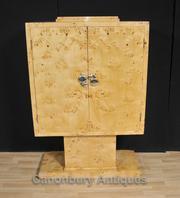 Blonde Walnut Art Deco TV Cabinet Chest Cupboard Furniture