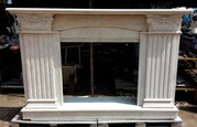 TRAVERTINE LIGHT MARBLE FIREPLACE