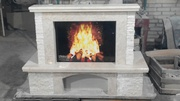 Fiore Beige Stone Fireplace