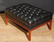 Large Regency Deep Button Stool Leather Ottoman