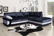 Shop Vargas Crushed Velvet Corner Sofa Formal Back @ furniturestop
