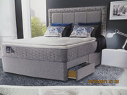 A Sealy KING SIZE BED BASE and HEADBOARD