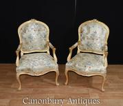 Pair French Louis XVI Gilt Arm Chairs Fauteuils
