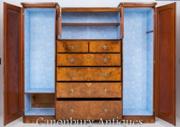 Victorian Burr Walnut Wardrobe Closet Cabinet 1860