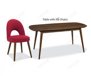 Bentley Designs Oslo Walnut 6-8 Extension Dining Table with 6 Chairs