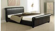 Upgrade your Bedroom with our Como Modern Faux Leather Sleigh Bed- Fur