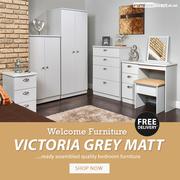 Welcome Victoria Grey Matt Bedroom Furniture Sale   Wardrobes